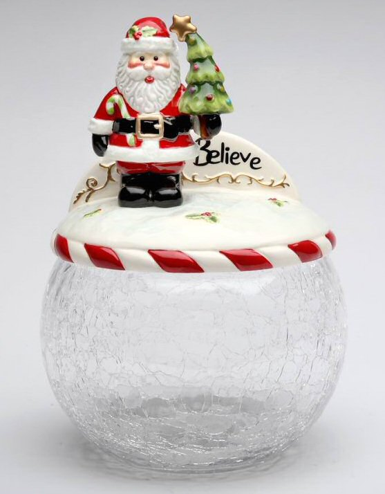 Santa with christmas tree glass cookie jar by laurie for Christmas glass jars
