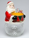 Santa with Drum and Gifts Glass Cookie Jar