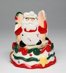 Santa with Friends on Cake Tea Light Candle Holder, Set of 2