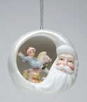 Santa with Kid on a Rocking Horse Christmas Tree Ornaments, Set of 4