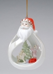 Santa with Tree and Child Christmas Tree Ornaments, Set of 4