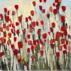 Scarlet Flower Meadows Wrapped Canvas Giclee Print Wall Art