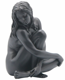 Sculpted Nude Female Holding One Knee Sculpture