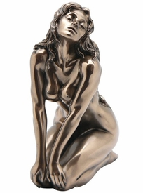 Sculpted Nude Female Sits on Both Knees Sculpture