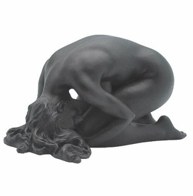Sculpted Nude Female with Head on Her Knees Sculpture