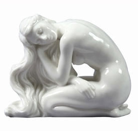 Sculpted Nude Woman Glazed Porcelain Sculpture - 30098