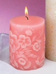 Sculpted Pink and White Floral Pillar Candles, Set of 6