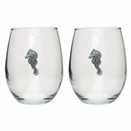 Sea Horse Pewter Accent Stemless Wine Glass Goblets, Set of 2