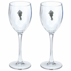 Sea Horse Pewter Accent Wine Glass Goblets, Set of 2