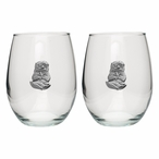 Sea Otter Pewter Accent Stemless Wine Glass Goblets, Set of 2