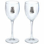 Sea Otter Pewter Accent Wine Glass Goblets, Set of 2
