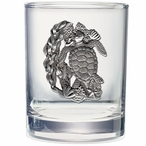 Sea Turtle Pewter Accent Double Old Fashion Glasses, Set of 2