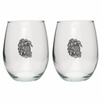 Sea Turtle Pewter Accent Stemless Wine Glass Goblets, Set of 2
