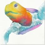 Sea Turtle Swimming Wrapped Canvas Giclee Print Wall Art