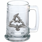 Seagull Birds Glass Beer Mug with Pewter Accent