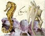 Seahorse and Coral Wrapped Canvas Giclee Print Wall Art