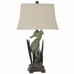 Seahorse Resin and Metal Table Lamp with Linen Shade