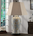 Seashell Ceramic and Resin Table Lamp with Oatmeal Linen Shade