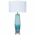 Seaside Metal and Glass Table Lamp with White Silk Shade
