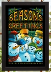 Season's Greetings Snowmen Stained Glass Wall Art