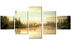 Serenity Lake Scene Wrapped Canvas Giclee Print Wall Art, Set of 5