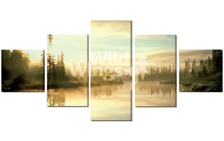 Serenity Lake Scene Wrapped Canvas Giclee Print Wall Art, Set of 5 ...
