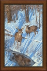 Shadows of Bowhunting Whitetail Deer Framed Canvas Giclee Wall Art
