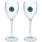 Shamrock Green Pewter Accent Wine Glass Goblets, Set of 2