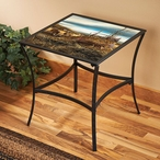 Sharing the Bounty Pheasants & Whitetail Deer Metal Table w/ Glass Top