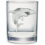 Shark Pewter Accent Double Old Fashion Glasses, Set of 2