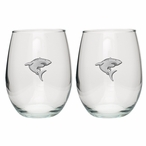 Shark Pewter Accent Stemless Wine Glass Goblets, Set of 2