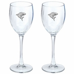 Shark Pewter Accent Wine Glass Goblets, Set of 2
