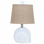 Shell Ceramic Table Lamp with Burlap Shade