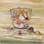 Shells in a Wire Basket Wrapped Canvas Giclee Print Wall Art