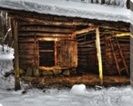 Shelter From a Winter Storm I Cabin in Woods Wrapped Canvas Art Print