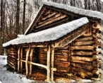 Shelter From a Winter Storm II Cabin in Woods Wrapped Canvas Art Print