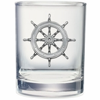 Ship Wheel Pewter Accent Double Old Fashion Glasses, Set of 2