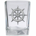 Ship Wheel Pewter Accent Shot Glasses, Set of 4