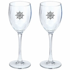 Ship Wheel Pewter Accent Wine Glass Goblets, Set of 2