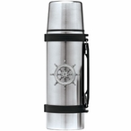 Ship Wheel Stainless Steel Thermos with Pewter Accent