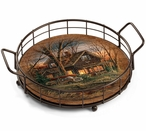 Shoreline Neighbors Cabin Metal and Wood Serving Trays, Set of 2