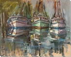 Shrimping Boats Wrapped Canvas Giclee Print Wall Art