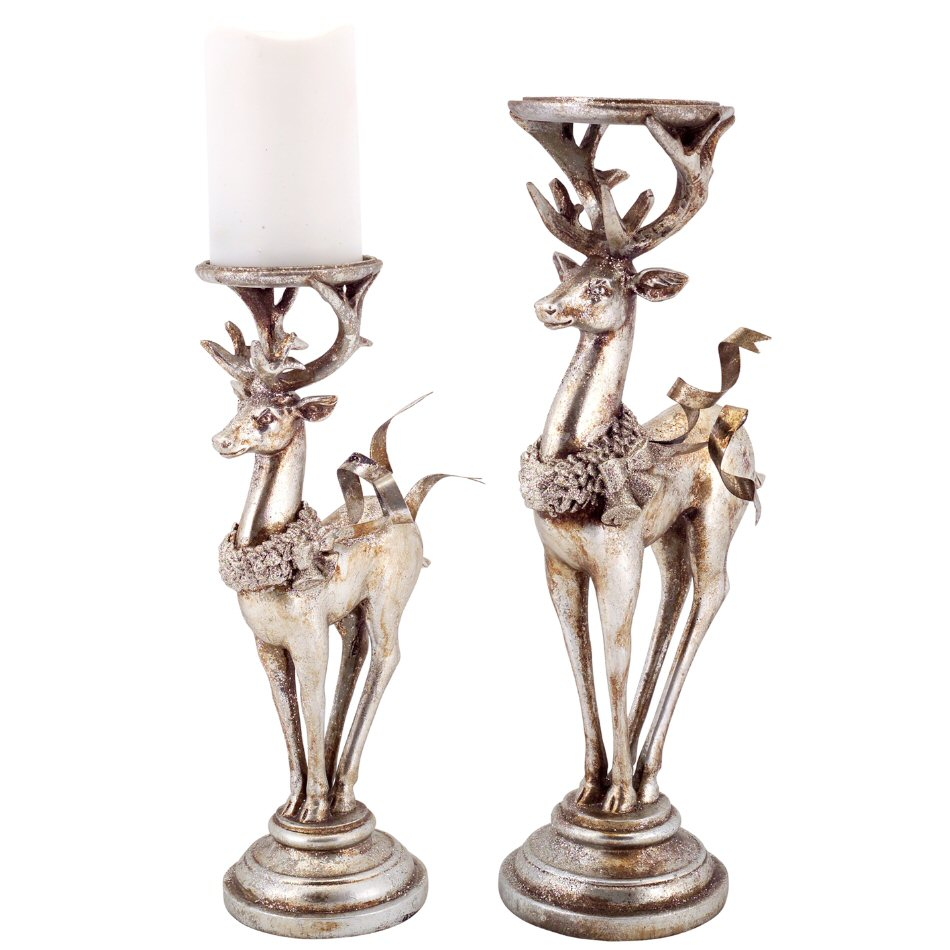 Silver And Gold Deer Pillar Candle Holder Set Of 2