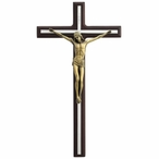 Silver Finish Cross and Bronze Jesus on Wood Crucifix Wall Plaque