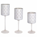 Silver Snowflake Glass Votive Candle Holder, Set of 3