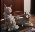 Sitting and Lying Fox Sculptures, Set of 2