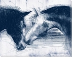 Sketched Horse Head Blue 2 Wrapped Canvas Giclee Art Print Wall Art