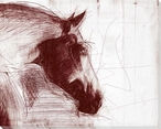 Sketched Horse Heads 1 Wrapped Canvas Giclee Art Print Wall Art