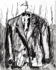 Sketched Suit Wrapped Canvas Giclee Print Wall Art