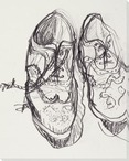 Sketched Wing Tips Shoes Wrapped Canvas Giclee Print Wall Art